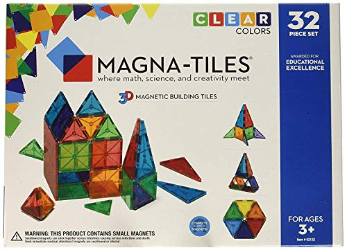 Magna-Tiles 32-Piece Clear Colors Set - The Original, Award-Winning Magnetic Building Tiles - Creativity and Educational - STEM Approved Bundled 2-Piece Car Expansion Set by Magna-Tiles (Image #1)