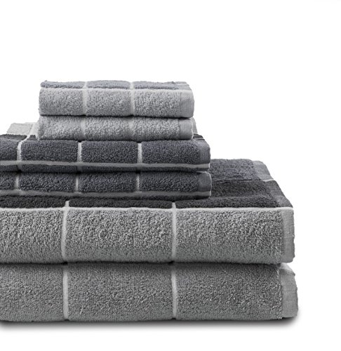 - Revere Mills Checkmate 6 Piece 100% Cotton Yarn Dyed Towel Set, Grey