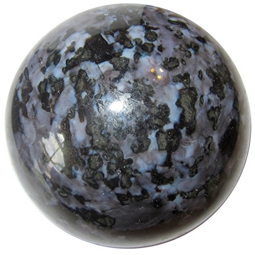 Satin Blue Leopard (SatinCrystals Gabbro Ball Premium Indigo Violet Blue Black Leopard Print Spiritual Awakening Stone Sphere P01 (2.4 Inches))