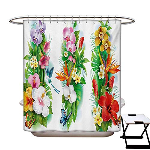 Watercolor Flower Shower Curtain Customized Tropical Christmas Bouquet Tropical Hibiscus Blossoms Leaf Butterfly Bathroom Accessories W72 x L84 Multicolor