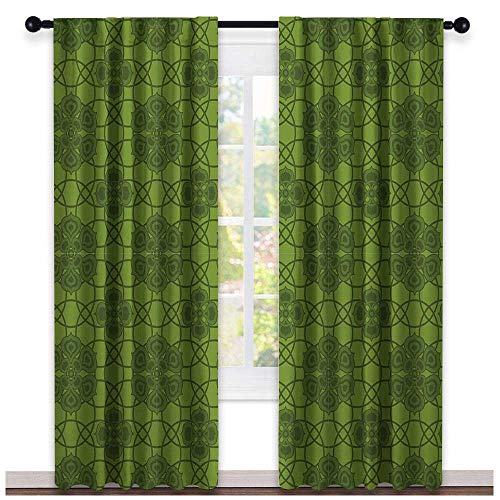 Sage Double Sconce - hengshu Sage, Curtains Valance, Old Fashioned Pattern with Geometrical Backdrop Mandala Inspired Flowers, Curtains Girls Room, W84 x L96 Inch Fern Green Olive Green