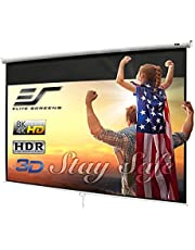 Elite Screens Manual B Series, 100-inch Diagonal 16:9, Pull Down Projection Manual Projector Screen with Auto Lock, M100H