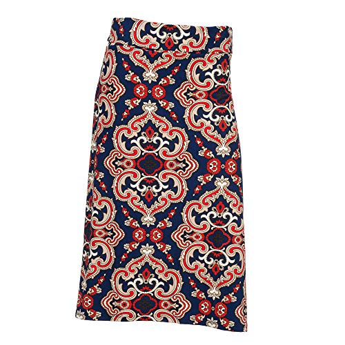 Arianna by Howard's Navy and Red Medallion Print Midi Skirt Large