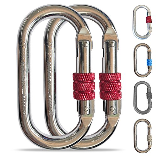 Steel Carabiner - O-Shaped Steel Climbing Carabiner(25kn=5600lb)Screw Lock Spring Gate Protection,CE Rated Heavy Duty Carabiners For Rock Climbing Rappelling Hiking Hanging Ropes Camping Slack Lines Rigging & Anchoring