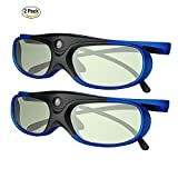 DLP Link 3D Glasses, GooDee Ultra-Clear HD 144 Hz 3D Active Rechargeable Shutter Glasses for All 3D DLP Projectors-BenQ, Optoma, Dell, Mitsubishi etc-2 pack