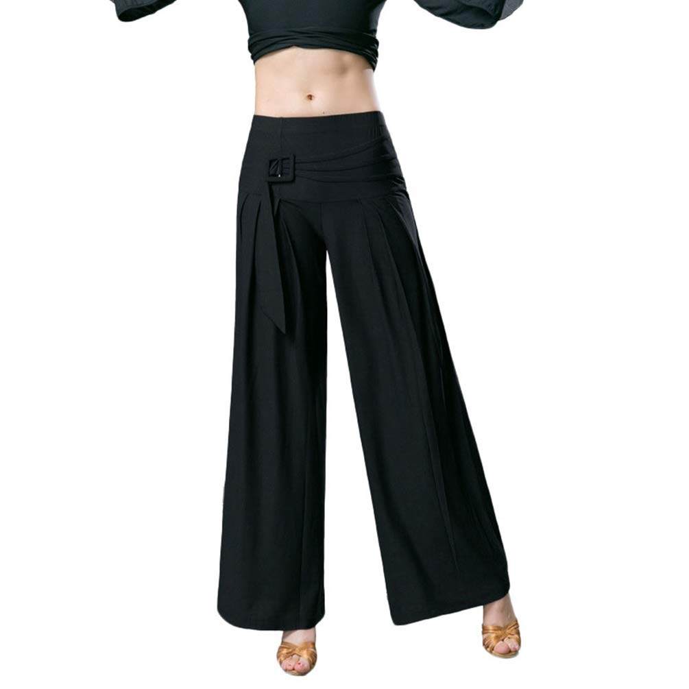 YiLianDaD Donna Pantalone Pratica Gamba Larga Neri Sciolto a Vita Alta Sportivi Yoga Danze Harem Trouser