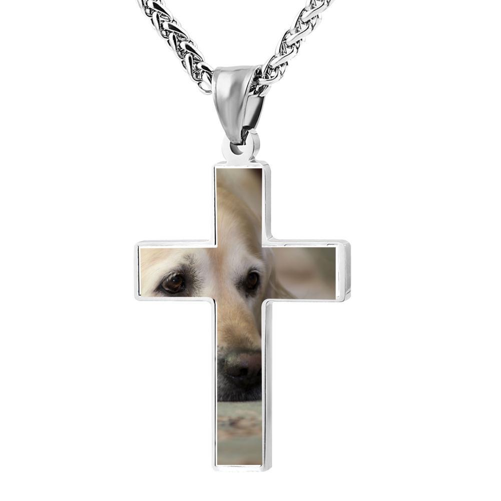Kenlove87 Patriotic Cross Golden Retriever Religious Lord'S Zinc Jewelry Pendant Necklace
