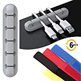 2-Pack Cable Holder Clips, SoloWIT Desktop Cable Organizer Cord Management Clips with 4 Cable Ties for USB Charging Cable PC Mouse Cable Power Wire Office Home