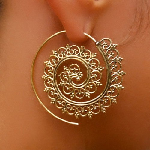 Brass Earrings - Brass Spiral Earrings - Gypsy Earrings - Tribal Earrings - Ethnic Earrings - Indian Earrings - Statement Earrings (EB1)