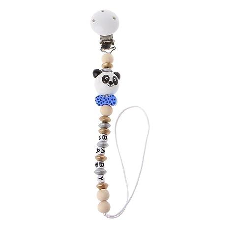 MIsha Cadena chupetes personalizado Juguete panda lindo Clip chupete madera(Azul)