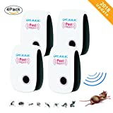 Ultrasonic Pest Repeller [4 Pack] Electronic Plug Indoor Repellent Pest Reject for Mice,Spiders, Insects, Bugs, Ants, Mosquitos, Rats, Roaches, Rodents - Ultrasonic Pest Control [2018 NEW UPGRADED]