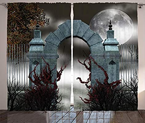 Ambesonne Gothic Decor Collection Scary Medieval Middle Age Stone