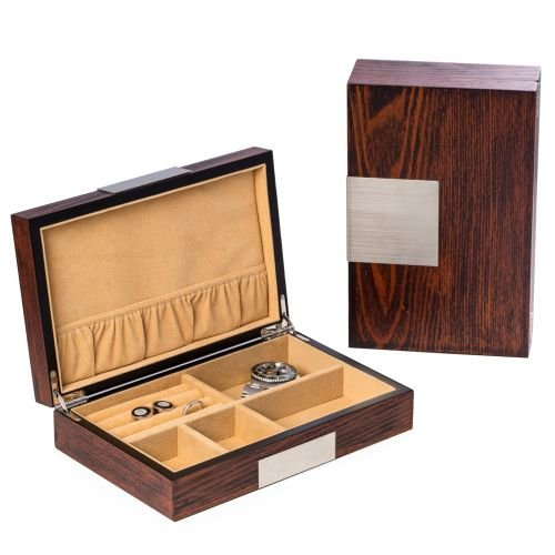 Executive High Gloss Natural Wood Piano Finsh Watch & Cufflink Jewelry Box Case