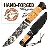 D2 Steel Knife - Fixed Blade Knives - Frozen Pattern Steel - Birchbark - Infantryman Standard Edition - Leather Sheath
