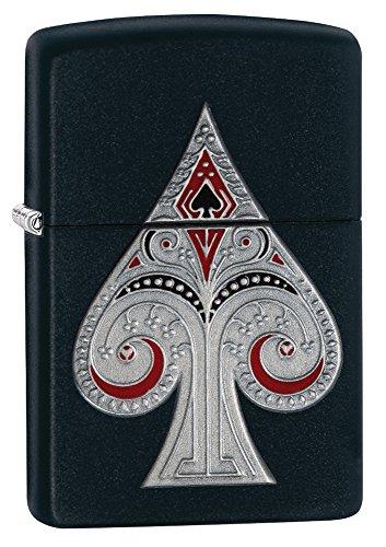 (Zippo Spade Pocket Lighter with Emblem, Matte Black)