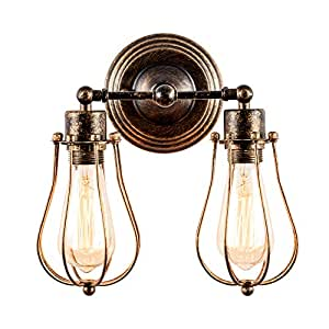 Luling Industrial Wall Sconce Loft Antique Wall Lights Wire Cage Adjustable Socket Edison Vintage Metal Retro Lamp Fixtures For Bedroom Gazebo One Size Bronze