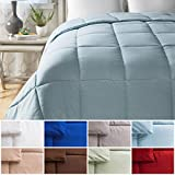Alternative Comforter - Cheer Collection All Season Luxurious Down Alternative Hypoallergenic Solid Light Blue Comforter, Full/Queen