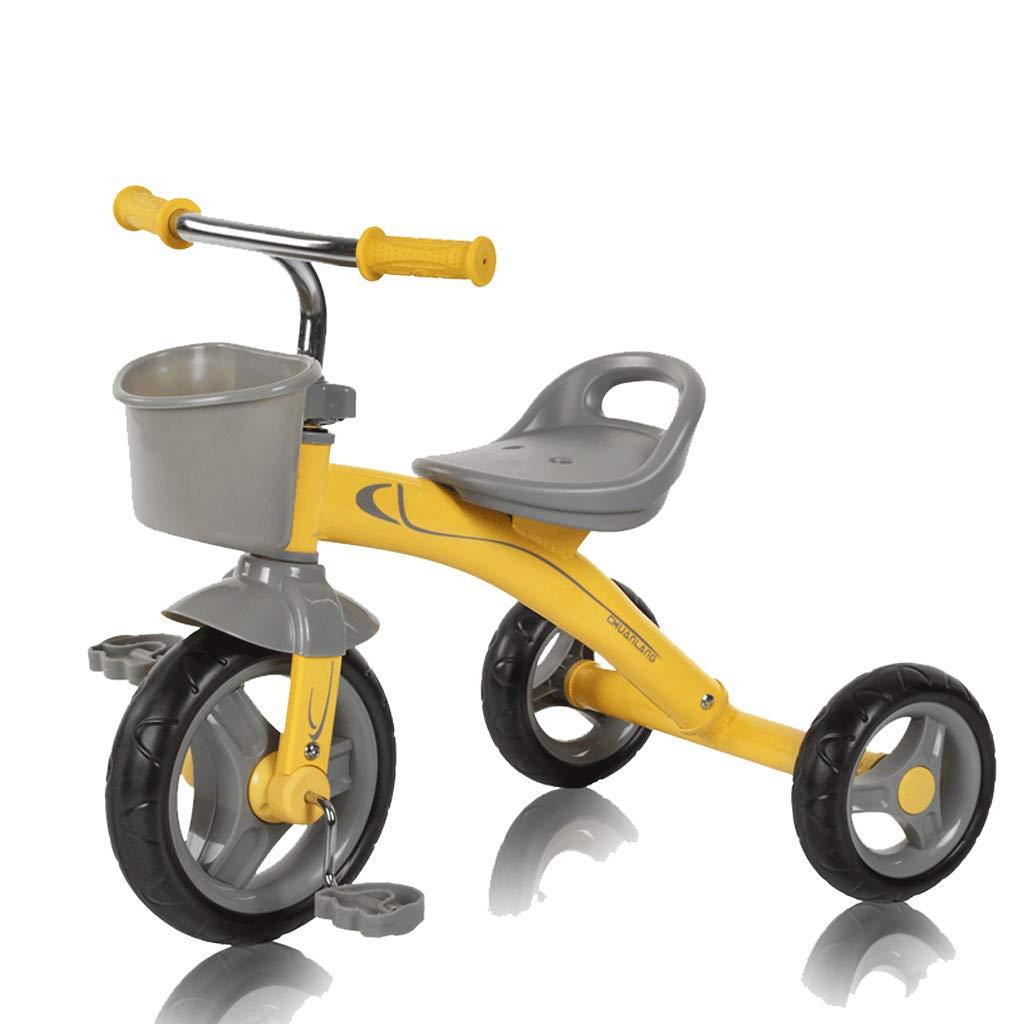 Kinder Dreirad Kinderwagen High-Carbon Stahl Fahrrad 2-5 Jahre altes Baby Pedal Dreirad (Farbe   Gelb)