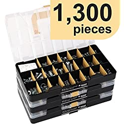 "Deluxe Hardware Assortment Kit with Professional""No Mix"" Case (1,300 Piece, 60 Sizes, Nuts, Bolts, Washers & Screws)"
