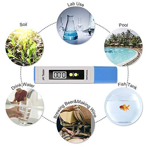 Digital PH Meter, PH Meter 0.01 PH High Accuracy Water Quality Tester with 0-14 PH Measurement Range for Household Drinking, Pool and Aquarium Water PH Tester Design with ATC (Blue) by MiToo (Image #3)