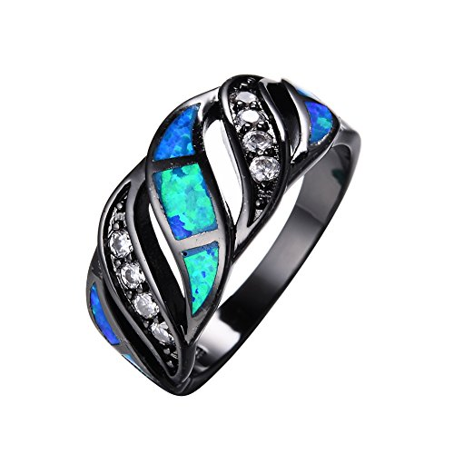 JunXin Top 10 KT Black Gold Plated Wave Ring,Women and Man Wedding Engagement Promise Rings,Blue Opal Cross Rings to Show You Unlimited Beauty and Self Confidence