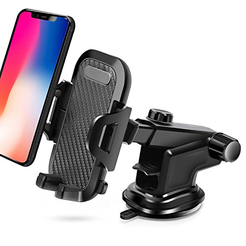 Car Phone Mount, BAIVON Universal Dashboard Cell Phone Holder Windshield Mount Strong Suction Cups for iPhone X/8/8 Plus/7/7 Plus, Samsung Galaxy S9/S9 Plus/S8/S8 Plus (Black) by BAIVON