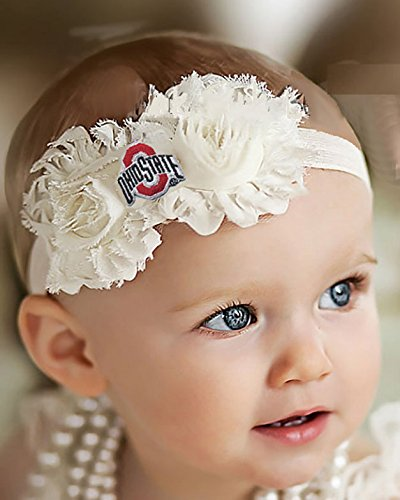 Future Tailgater Ohio State Buckeyes Baby/Toddler Shabby Flower Bow Headband (Toddler / 16