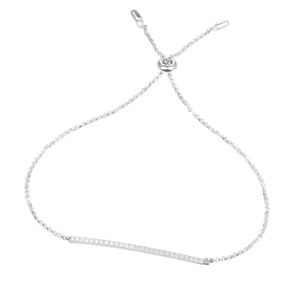 Diamond Bar Bolo Bracelet in Sterling Silver White Gold Plated - Bracelets for Women Adjustable