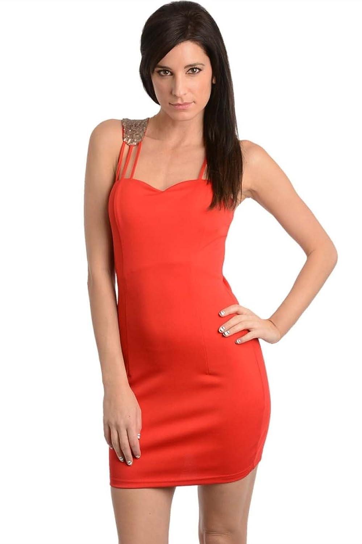 2LUV Women's Multiple Strap Sequin Accent Body Con Dress