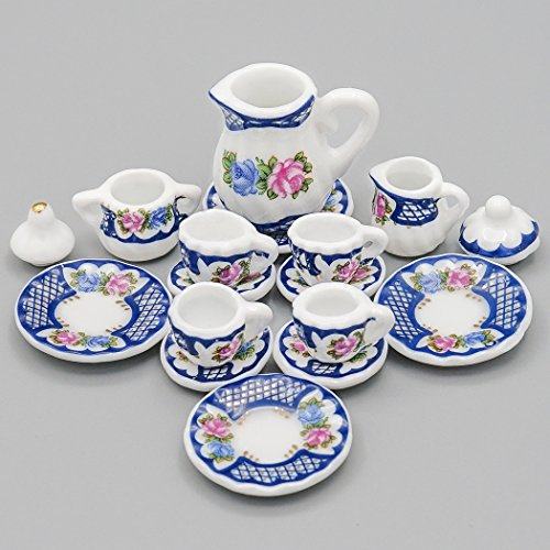(Odoria 1:12 Miniature 15PCS Porcelain Vintage Tea Cup Set Dollhouse Kitchen Accessories)