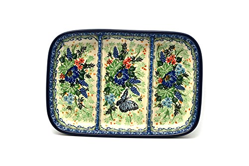Polish Pottery Dish - Divided Rectangular - Unikat Signature U4600 - Divided Relish Tray