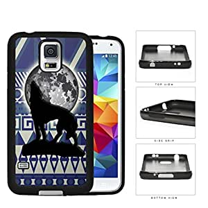 Wolf Howling With Moonlight Aztec Design Rubber Silicone TPU Cell Phone Case Samsung Galaxy S5 SM-G900