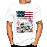 Zulmuliu Men T Shirt,Fashion USA Flag Print Tee Shirt Summer Casucal Blouse for Boy (White,4XL)