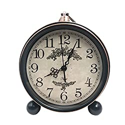 5.5 Classic Retro Clock,JUSTUP European Style Vintage Silent Desk Alarm Clock Non Ticking Quartz Movement Battery Operated , HD Glass Lens, Easy to Read (SZ01)