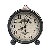 Cheap JUSTUP 5.5″ Classic Retro Clock, European Style Vintage Silent Desk Alarm Clock Non Ticking Quartz Movement Battery Operated, HD Glass Lens, Easy to Read (SZ01)