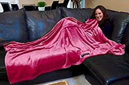 Original THROWBEE Blanket-Poncho PINK (Yay! NO SLEEVES) Wearable Throw THE MOST COMFORTABLE and SOFTEST EVER!!! Indoors or Outdoors - men women kids