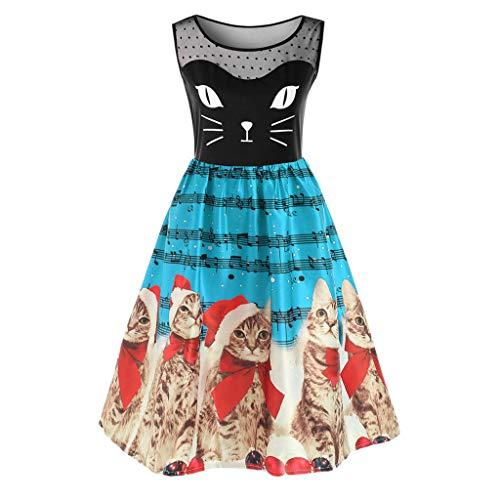 - Sunhusing Women Fashion Sleeveless Christmas Gown Retro Kitten Cats Musical Notes Print Vintage Flare Dress