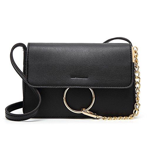 PU Handbag Leather Women Bags Metal Crossbody Ladies Ring with Lacheln Black Clutch Chain Shoulder aBxF6nn
