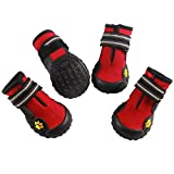 #10: vecomfy Large Dog Shoes for Winter Snow(4-Pack),Outdoor Mountaineering Non-slip Waterproof Dog Boots Protect Paws by (Red,Size 8)