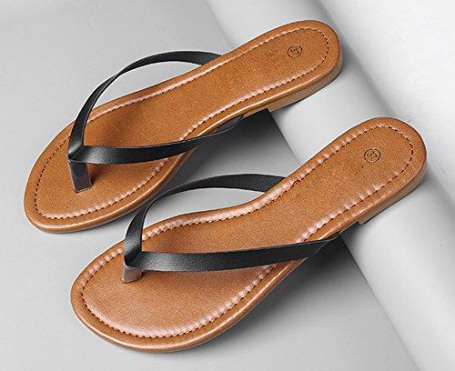 Flop Classique Simple 40 wealsex Cuir 41 Femmes Grande Flip Tongs Chaussures Taille Plates Piscine Plage Noir Sandales PU 7q7P1wAx8