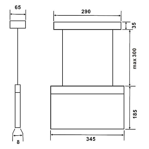 Biard Señal con Luz de Emergencia LED Rectangular de 7,5W con Flecha Hacia la Abajo - Luz De Mantenimiento/ Sin Mantenimiento - Comercial de Seguridad ...