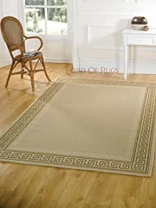 Very Large Modern Flatweave Beige Rug in 160 x 230 cm (5'3 x 7'7) Carpet by Lord of Rugs