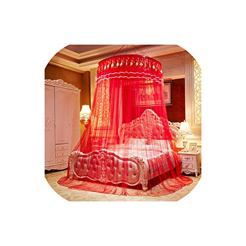 Chinese Red Romantic for Honeymoon Princess Hanging Round Lace Bed Canopy Tent Folding Dome Mosquito Netting 6 Size,Red,2.0m (6.6 feet) Bed
