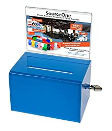 SourceOne Donation Box with Sign Holder and Lock, 5 Inch Wide (1 Pack, Light Blue)