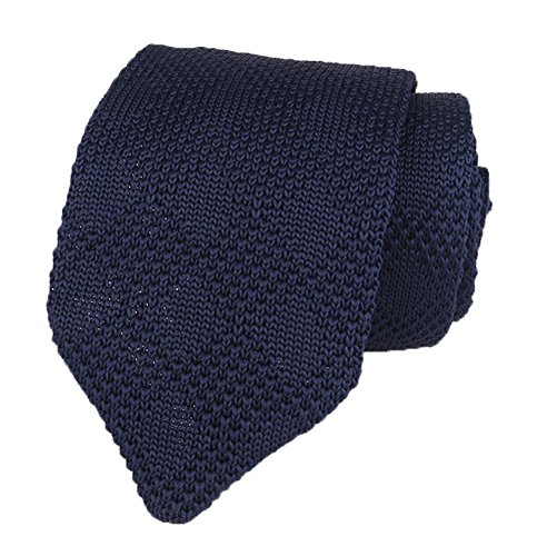 Men Boy Classic Navy Blue Solid Color Tie Designer Cotton Check Necktie Neckwear -