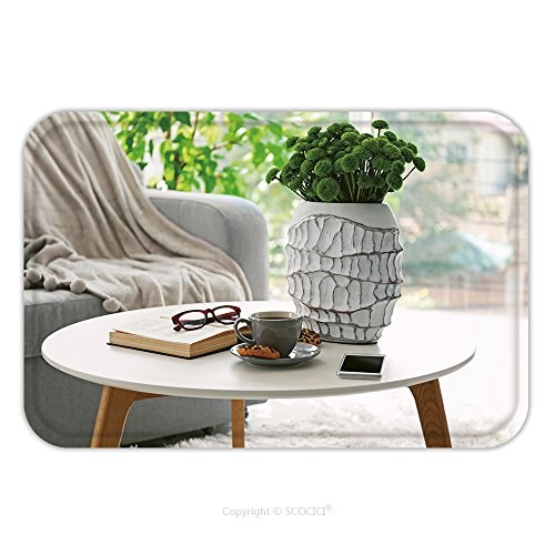 Flannel Microfiber Non-slip Rubber Backing Soft Absorbent Doormat Mat Rug Carpet Cup Of Coffee With Biscuits On Table In Room 343383083 for (Econo Desk)