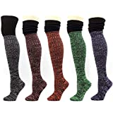 Women Over-The-Knee Thigh High Socks Leg warmer Knit Winter Leggings (A-Multi Pack 5pairs)