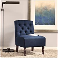 Lola Navy Tufted Upholstered Comfortable Wood Armless Chair