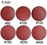 SACKORANGE 60 PCS 5-Inch NO-Hole PSA Aluminum Oxide Sanding Disc, Self Stick(10 Each of 80 100 120 180 240 400)