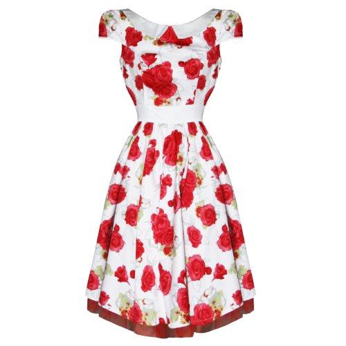Da Roses London Hearts Ballo 1950s amp; Bianca Rosa Sera Bianco Vintage Fiori Vestito vgqOqxw